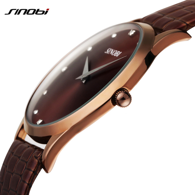 2016 HOT SELL SINOBI Brand Leather Strap Watch for Mens Man Fashion Style Quartz Military Waterproof Wristwatch wholesale