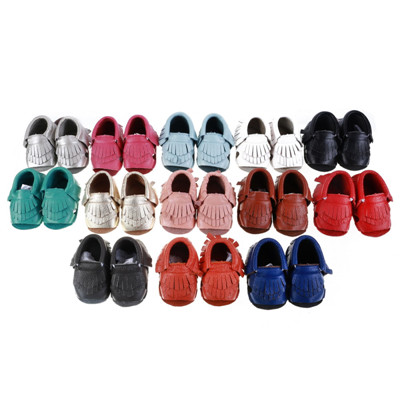 wholesales Genuine Leather Baby Moccasins shoes solid fringe bow soft double sole Moccs Newborn Baby firstwalker Anti-slip shoe<br><br>Aliexpress