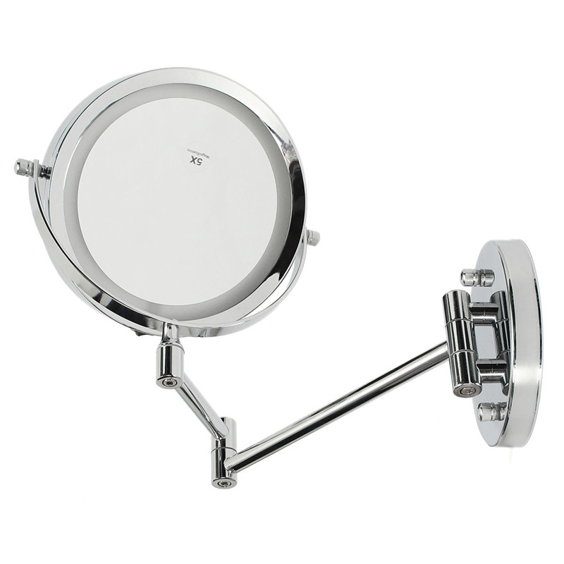 Фотография Best Quallity 7 inch Dual Arm Extend Bathroom Mirror With Battery LED Light  2 Face Wall Hanging Makeup Mirror 5 x Magnification