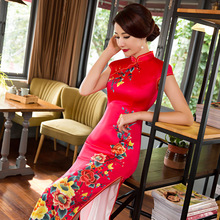 New Arrival Long Slim Women Cheongsam Dress Chinese Ladies Satin Qipao Novelty Sexy Flower Dress Size S M L XL XXL XXXL F080923