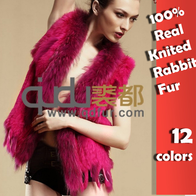 Lady Genuine Knitted Rabbit Fur Vest with tassels Raccoon Fur Trimming Winter Women Fur  Waistcoat  Gilet Colete Pele QDMJ001