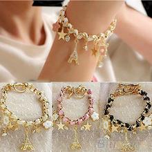 Fashion 2014 New Women Jewelry Multi-element Gold Chain Leather Rope Crystal Handwork Bracelet Bracelets & pendants 02BA(China (Mainland))