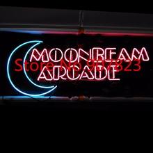 "33""X14"" MOONBEAM ARCADE GAME ROOM Beer Bar Pub Custom Real Glass Neon Light Sign(China (Mainland))"
