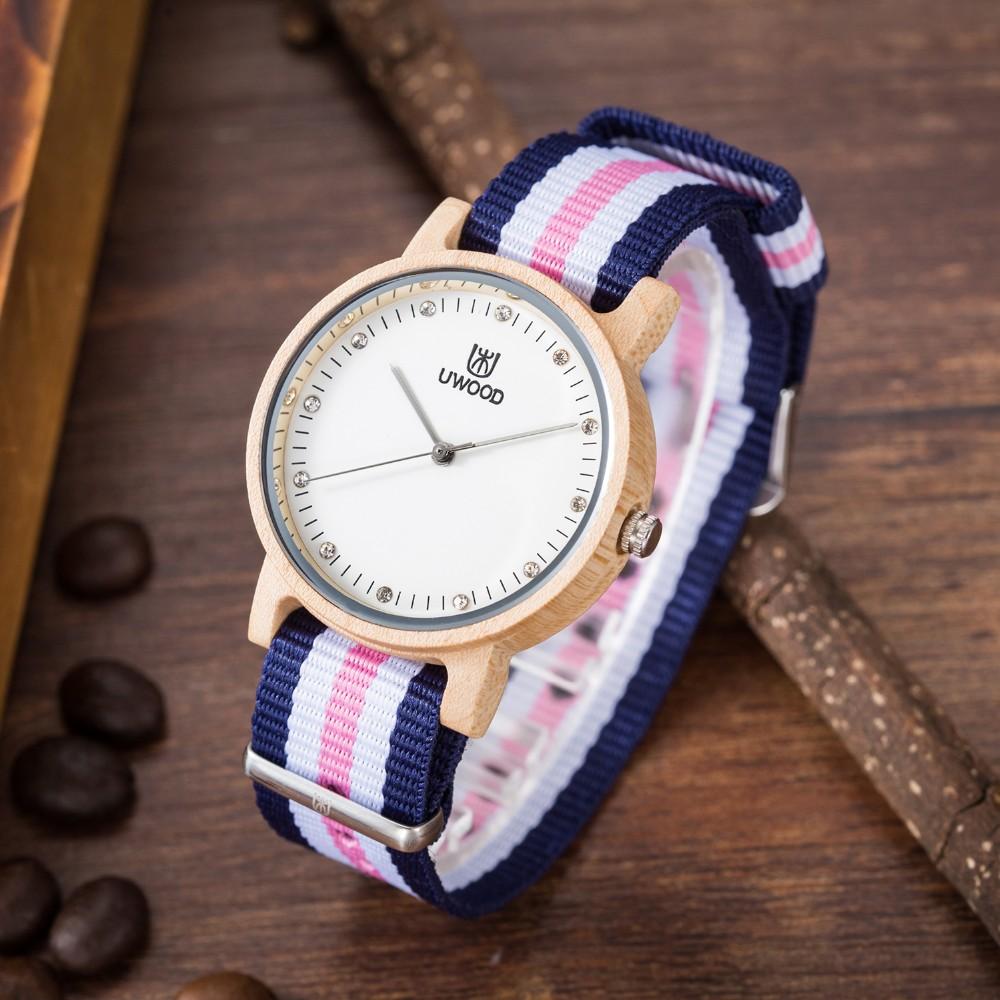 Высокое Качество Мода Платье деревянные Часы женские Роскошь Бамбук Дерево Часы Кварцевые Нейлон Наручные Часы в качестве Подарков для подруги