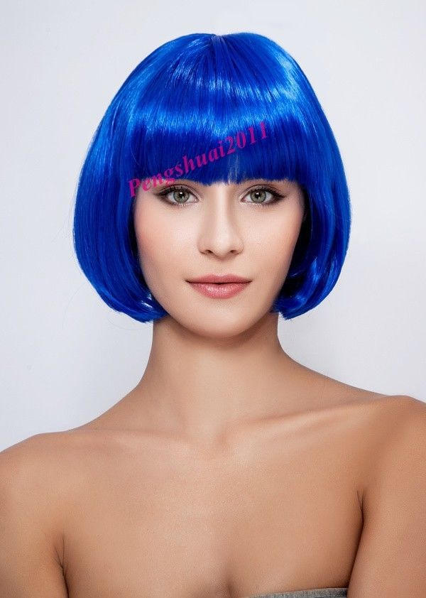 dd001376 New Blue Short Straight Neat Bangs Synthesis Women Hair Full Wig Cosplay  (D Special discount 35%)<br><br>Aliexpress