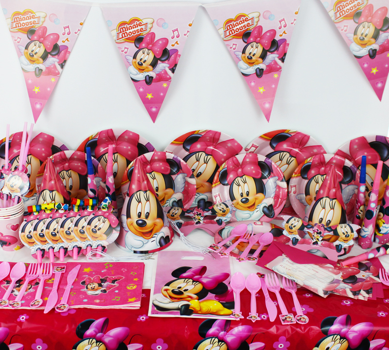 78pcs minnie mouse baby birthday party decorations kids for Baby minnie mouse party decoration