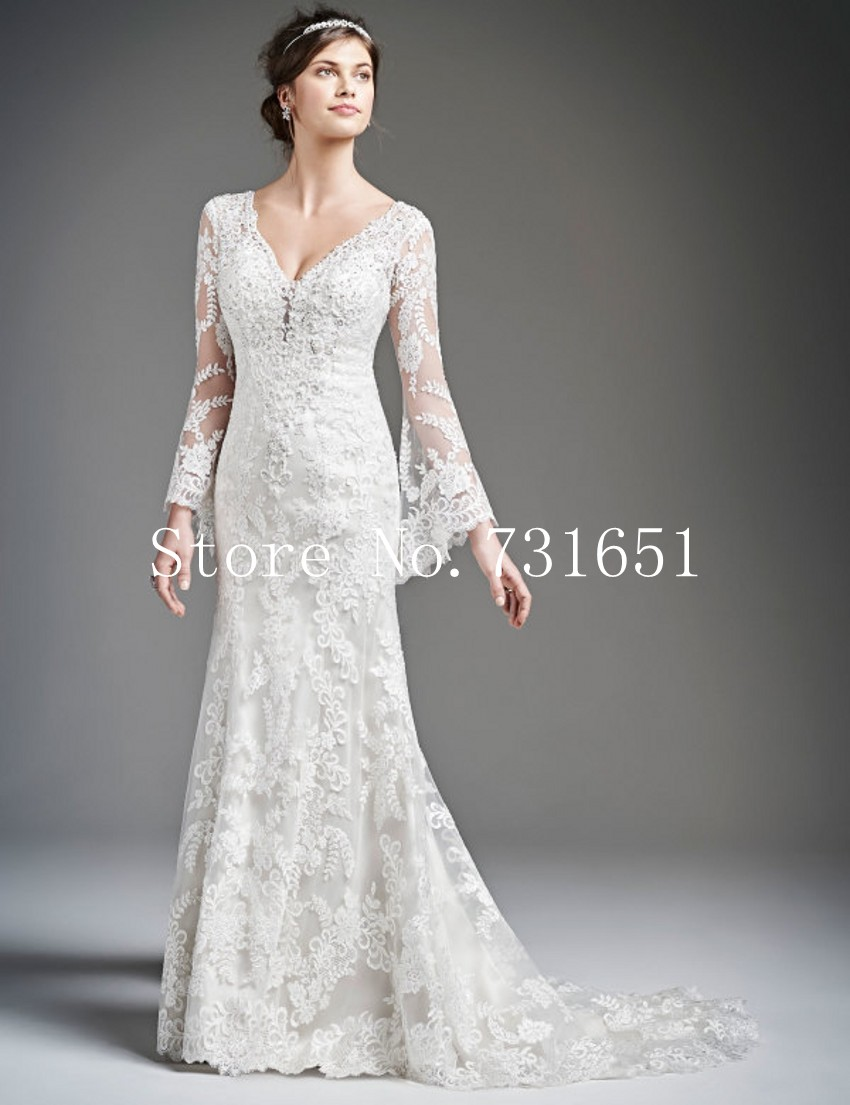 2015 fall hot sale vintage lace long sleeves wedding