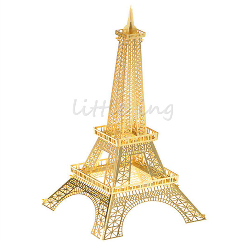 Gold Eiffel Tower 3D Metal Puzzles Jigsaw DIY architecture Assembled Model Building Kits Learning Education Jigsaw Puzzles(China (Mainland))