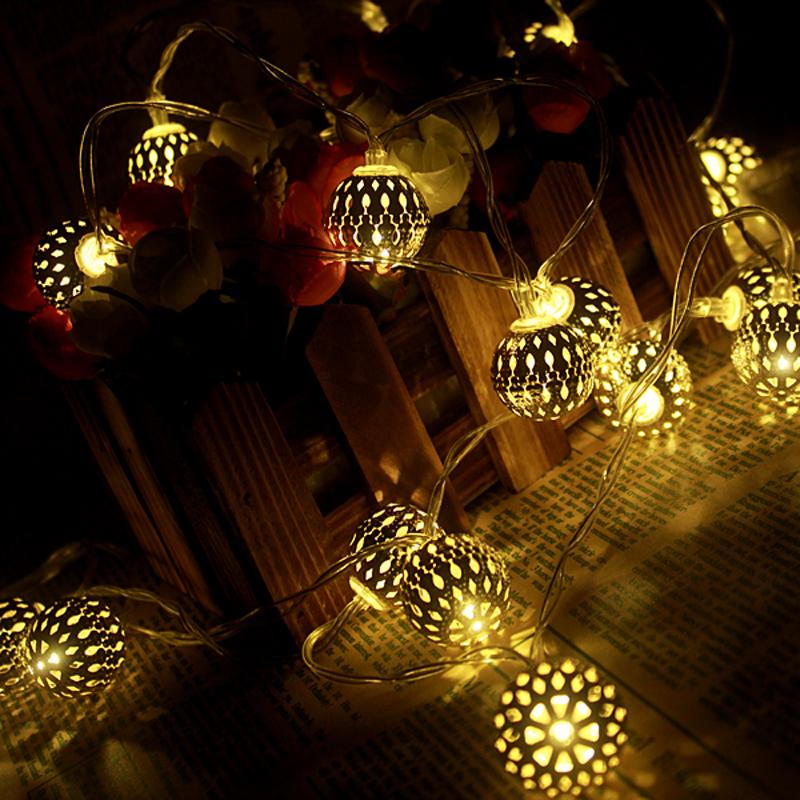 buy 1m golden moroccan orb led string lights battery operated with 10 leds. Black Bedroom Furniture Sets. Home Design Ideas