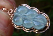 xiuli 0014727 Glassy Grade A Jade Jadeite Emerald Pendant18K Solid Rose Gold Leaf(China (Mainland))