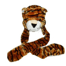 Kids TIGER BROWN Plush Winter Hat - attached Scarf & Mitts(China (Mainland))