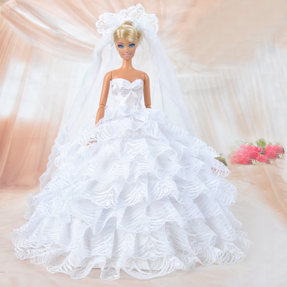 Buy fashion multilayer doll clothes for Wedding dresses for barbie dolls