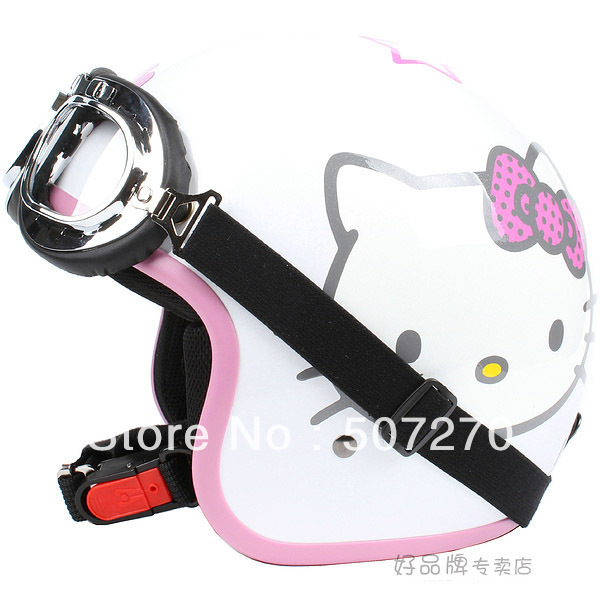 "E.53 3/4 Taiwan "" EVO "" ABS Motocross Half Face Casco Motorcycle "" Hello Kitty "" White Helmet & UV Goggles Adult Free Shipping(China (Mainland))"