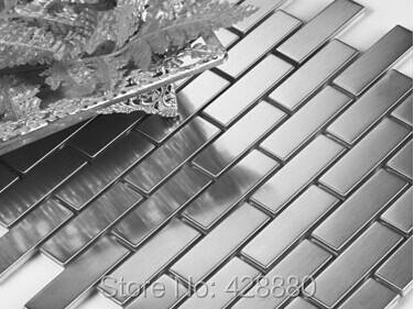 stainless steel backsplash porcelain base subway tile grey