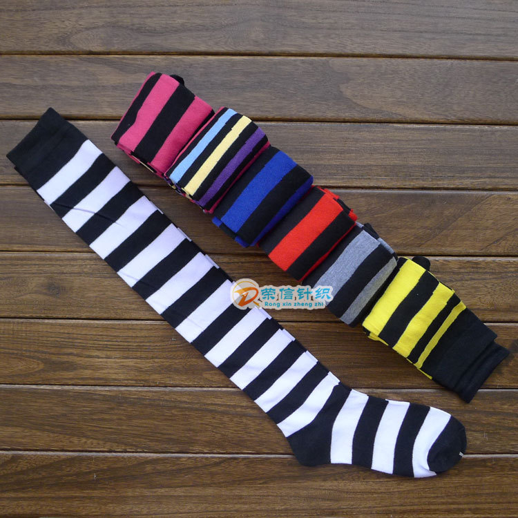 Meia Top Fashion 2015 Hot Autumn And Winter Japanese Cos Striped During Cotton Seven Color Stockings Wholesale Girls Even Feet(China (Mainland))