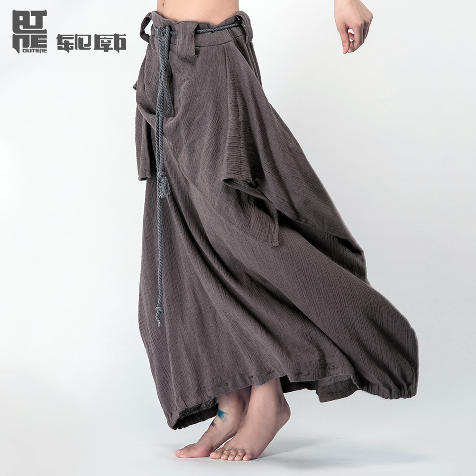 Outline Brand Women Pants Sashes Harem Pants Pantskirt Loose Trousers Linen Plus Size Harem Pants Wide Leg Pants L142K008(China (Mainland))