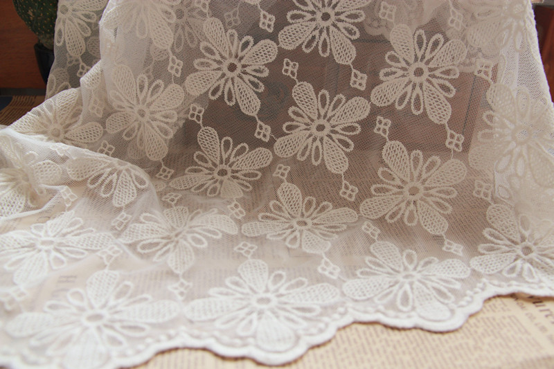 Bridal lace fabric in white floral embroidered lace for Wedding dress lace fabric