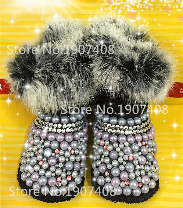 Warm shoes for baby shoes handmade pearl baby toddler bling bling shoes Baby boots wool girl shoes first walker baby soft boots(China (Mainland))