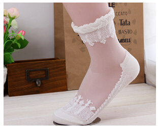 Hot sales Colorful Ultrathin Transparent Beautiful Crystal Lace Elastic Short Women Socks Calcetines Pink Sock for Womens meias(China (Mainland))