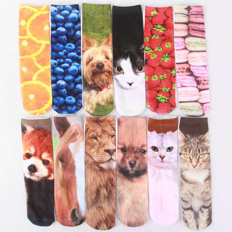 1 Pair British fashion topshop Print Long socks cat cartoon rabbit for men and women 3D Print Animal Socks Casual cartoon Socks(China (Mainland))
