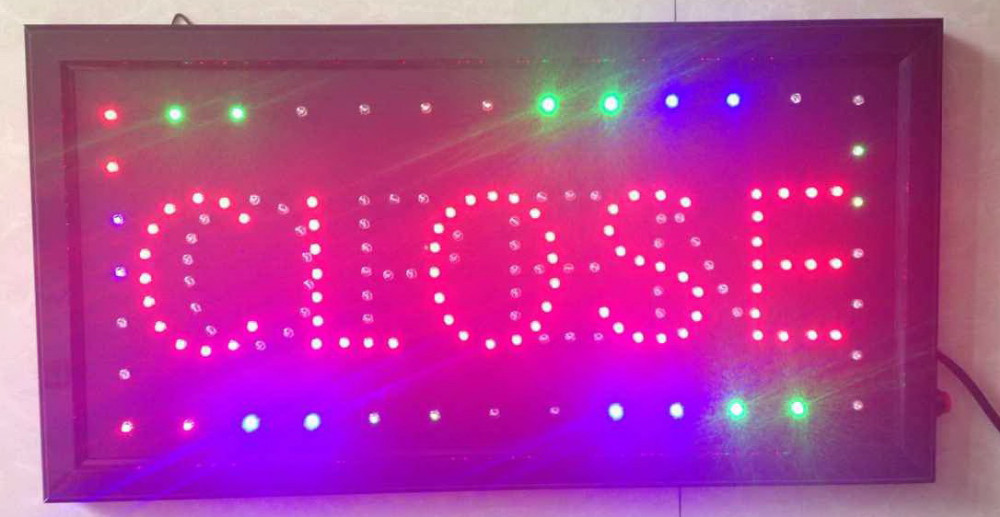 2016 hot sale custom led sign 10X19 inch indoor Ultra Bright flashing led light display business store closed & open signage(China (Mainland))