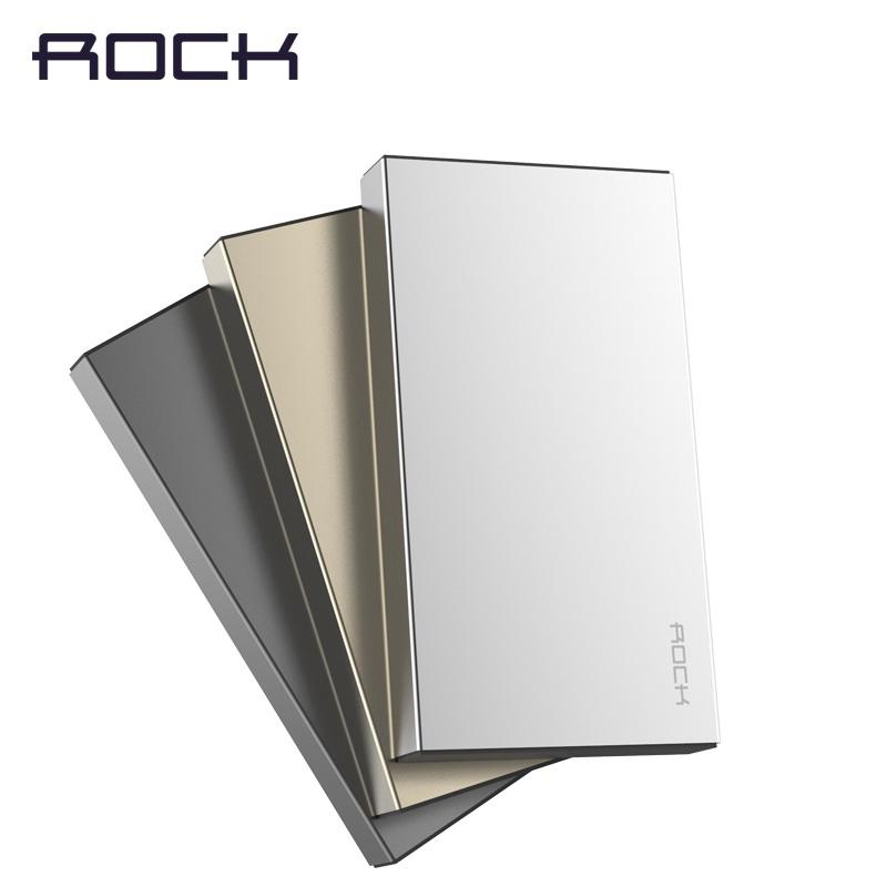 ROCK Outlets Fashion Ultrathin Aluminium Real10000 mAh Stone Power Bank External Battery Pack Bank USB Portable Charger(China (Mainland))