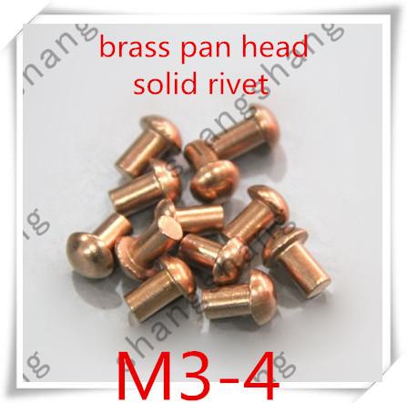 100PCS/lot  m3*4 brass copper half round pan  head solid rivets<br><br>Aliexpress