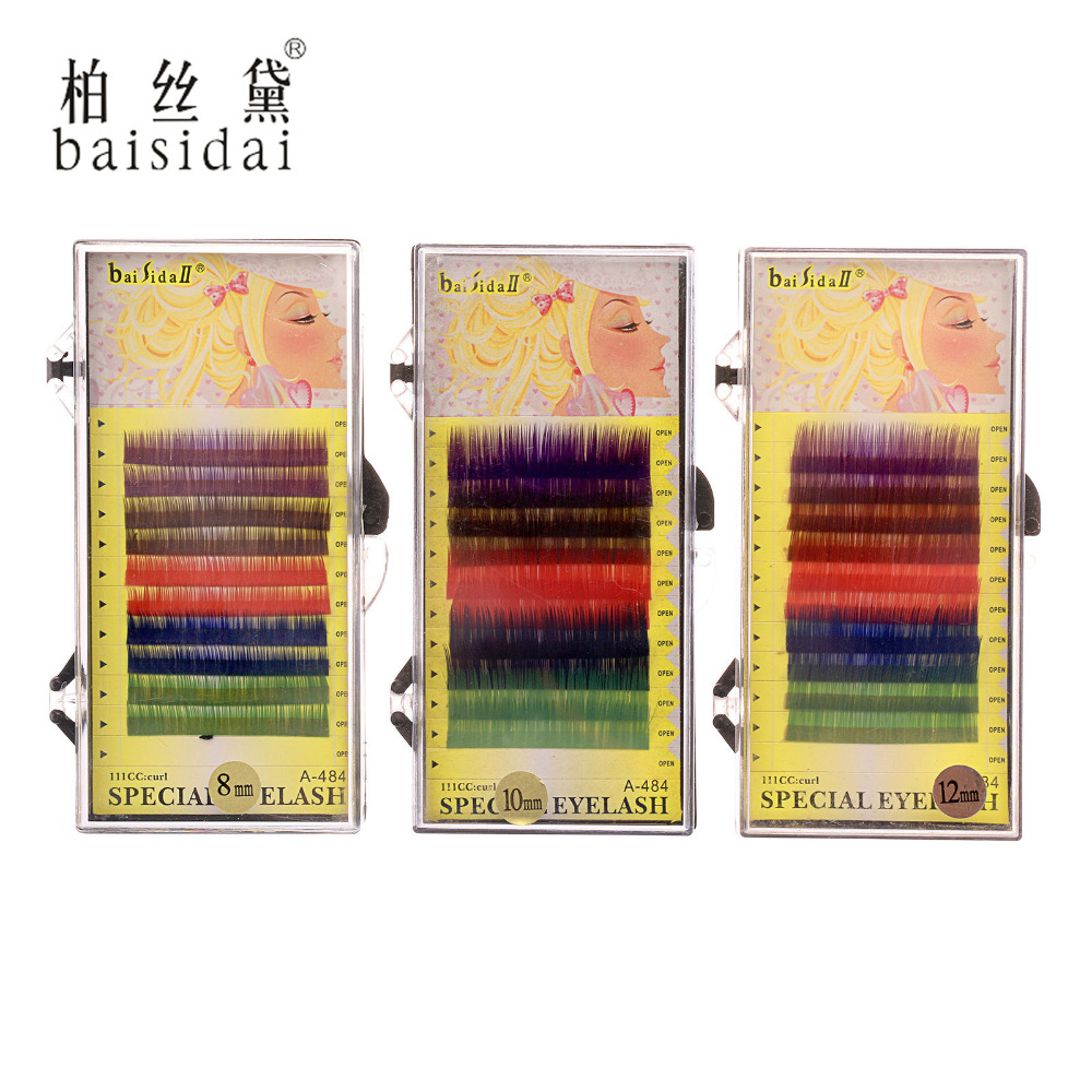 8/10/12mm C Curl Thick Long Soft False Eyelash Mix Color Lashes Makeup Extension(China (Mainland))