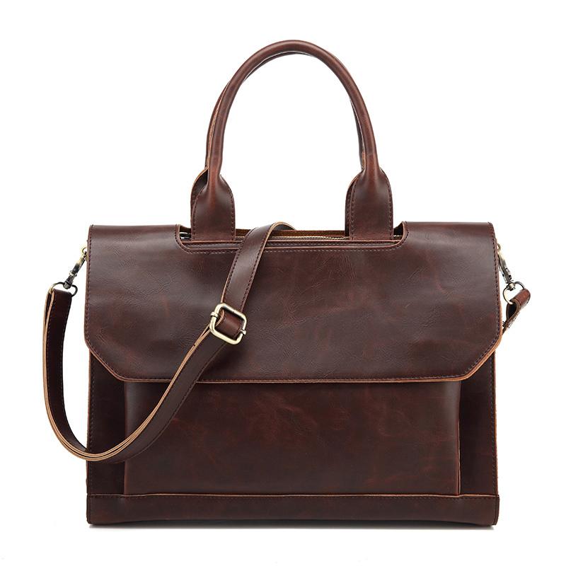 2017 Fashion men Handbag PU Leather Shoulder Bags Man Vintage Decoration Cover style men laptop Bags for man(China (Mainland))