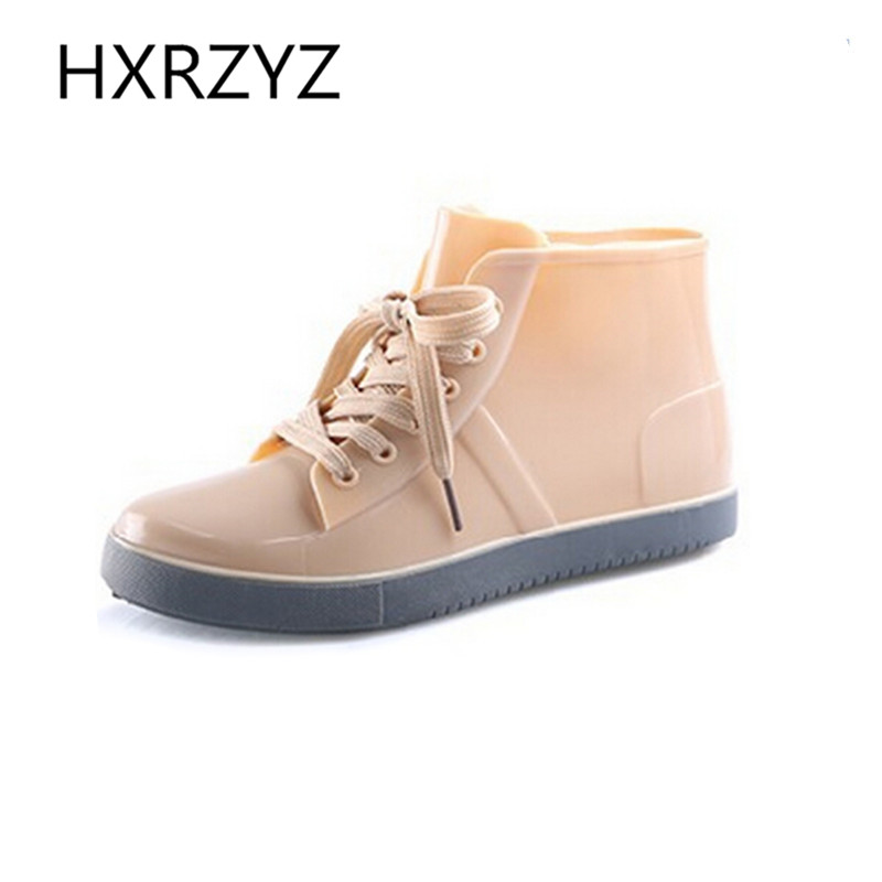 Shoes Women Lace-Up Rain Boots Fashion Solid Flats Shoes Casual Round Toe Women Ankle Boots Jelly Waterproof Shoes Martin Boots(China (Mainland))