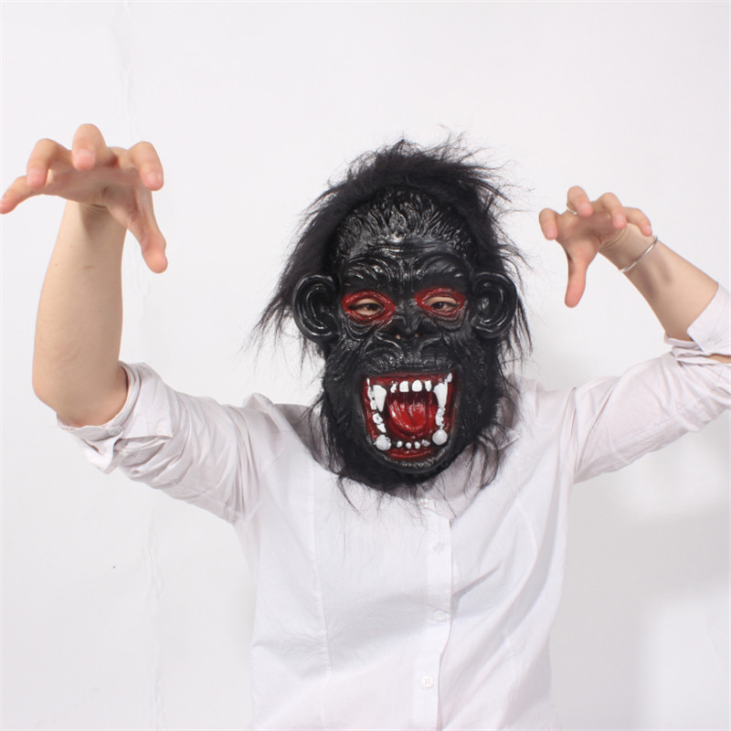 2016 New Full Face Halloween Props Costumes Dress Carnival Parties Cosplay Black Gorilla Mask Horror Masquerade Adult Ghost Mask(China (Mainland))