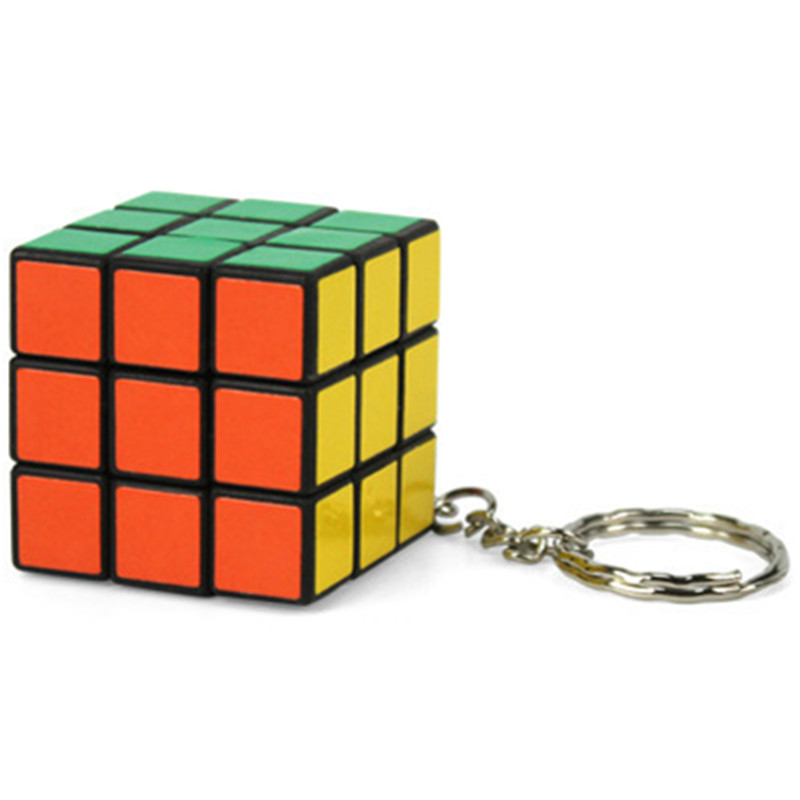 Hot Sale Fashion Cool Mini Toy Key Ring Magic Cube keychain Game Key Chain for kids Carrying 3cm Holder porte clef pendant(China (Mainland))