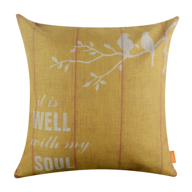 LINKWELL 18x18 Retro Yellow Bird Burlap Cushion Cover Throw Pillowcase It is Well with My Soul