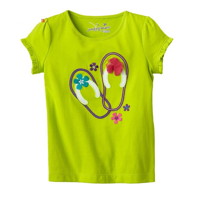 Jumping Beans 2016 Summer Girls T-Shirts Green Fashion Sandal Floral Children's Tees Shirts Tops Retail Girl Clothes 100% Cotton(China (Mainland))