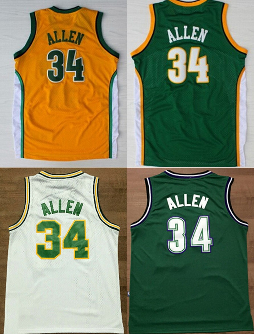 2016 Green White Orange Color throwback Basketball Jersey Embroidery Logos#34 Ray Allen jersey(China (Mainland))