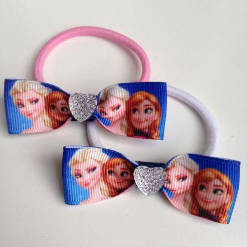 royal blue diamond-heart princess girls Elastic hair bands ropes Ties bows Birthday Party Favors gifts(China (Mainland))