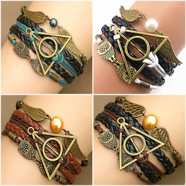 Многослойные плетеные браслеты старинные сова гарри поттер крылья бесконечность браслет ...