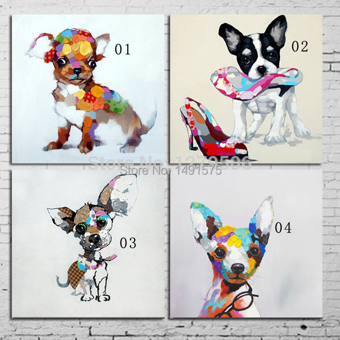 100%Handpainted Modern Abstract Adorable Animals Art Oil Painting On Canvas Dog Paintings For Home Decor(China (Mainland))