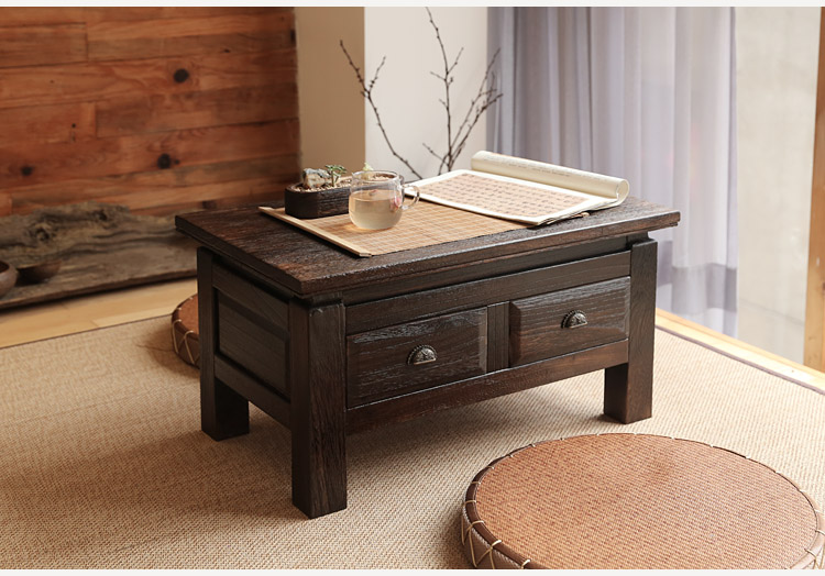 US $199.0 |Japanese Antique Furniture Tea Table Wooden Storage Cabinet Two  Drawer Paulownia Wood Asian Traditional Living Room Furniture-in Coffee ...