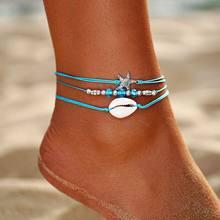 Rozgwiazda wisiorek obrączki 2019 dla kobiet nowy kamień koraliki powłoki łańcuszek na kostkę czeski bransoletki na nogę BOHO Ocean biżuteria Drop Shipping(China)