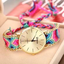 2014 New Arrival Fashion Rope Bracelet Wristwatch Geneva Golden Chain Fabric Dress Watch Women Casual Watch