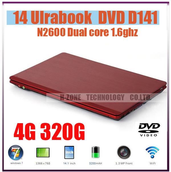 Lowest Price 14 inch Mini aptop notebook computer with Intel Atom N2600 Dual-core 4G ram&320G HDD DVD-RW WIFI 1.3MP Webcam HDMI(China (Mainland))