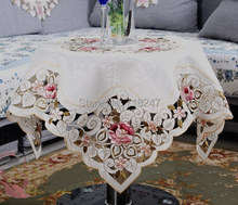 New Arrival Elegant Polyester Satin Floral Embroidery Tablecloth Embroidered Table Linen Cloth Cover Overlays Home Decor(China (Mainland))