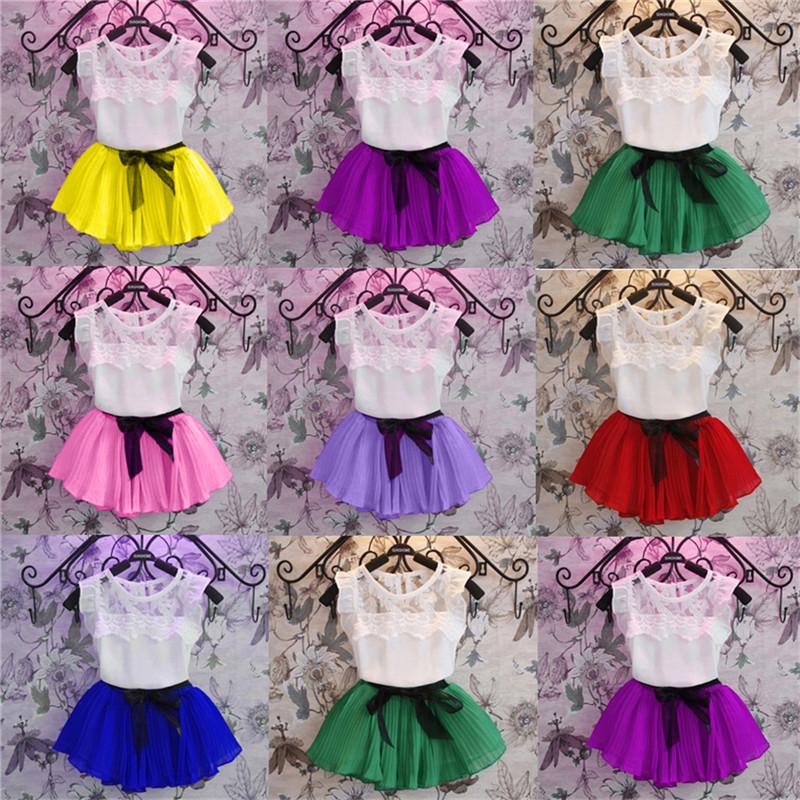 Summer Baby Girls Lace Tank Tops Tee Bowknot Skirt Sets Toddler Infant Sleeveless T Shirts Short Dress Kids Clothing Sets 2pcs(China (Mainland))