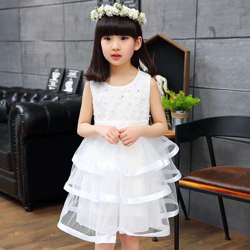 HOT girls summer wedding dress Formal dress casual kidsTutu princess dress baby girl 5-7-13 age kids clothes dress for girl(China (Mainland))