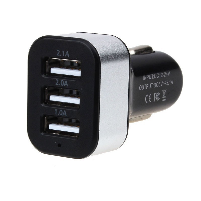 Universal Vehicle 12V-24V 3Port USB(1A,2A,2.1A) DC Car Charger USB Power Adapter For Cellphone tablet PC Lowest price(China (Mainland))