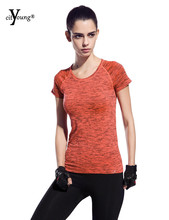 Dry Quick T Shirt Space Dyed Women'S T Shirts Short Sleeve T-Shirts Fitness Women T-Shirts & Tops FY_1526(China (Mainland))