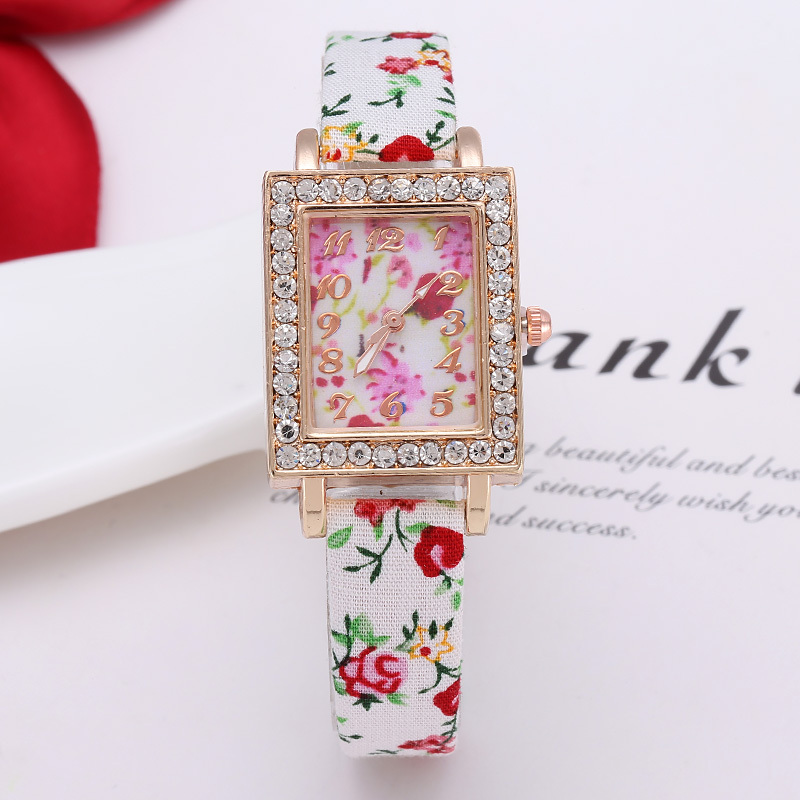 2015 New Arrival Cheap Fabric Band Women Relogios Feminino Fashions Rectangular Watch Reloj Cuadrado Flores Mujer Ladies AD Saat(China (Mainland))