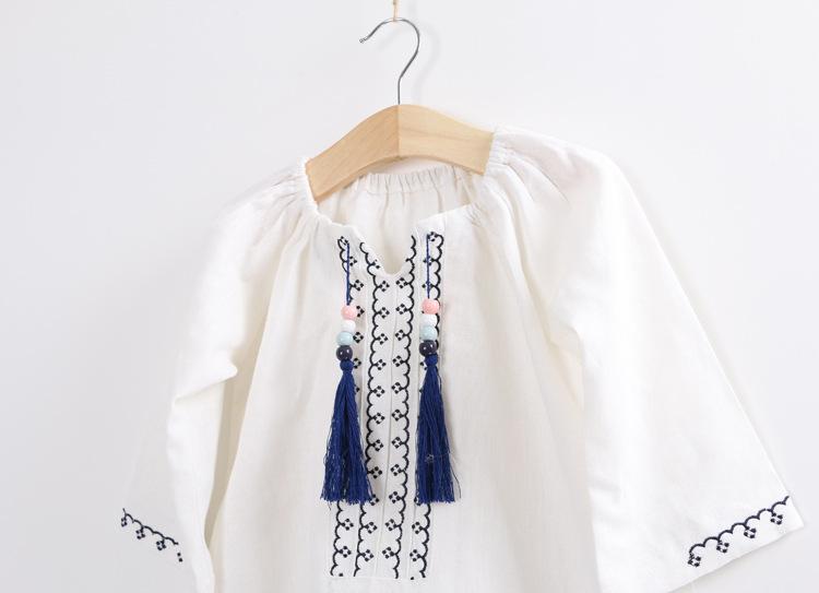 Moon Morning Girl Blouse Spring Autumn Linen Long Sleeve Veste Blue Fringe 2T~7T Children Clothes Chemise Meisjes London Camisa