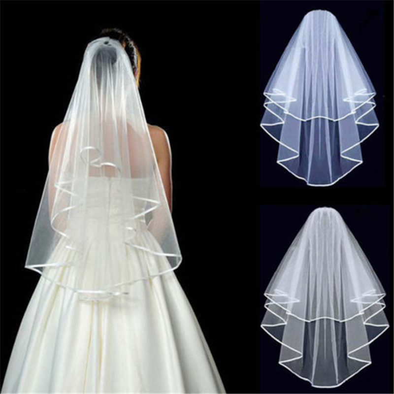 2016 New Arrival Hot Fashion 2 Layer Wedding Bridal Elbow Satin Veil With Comb White/Ivory Free Shipping(China (Mainland))